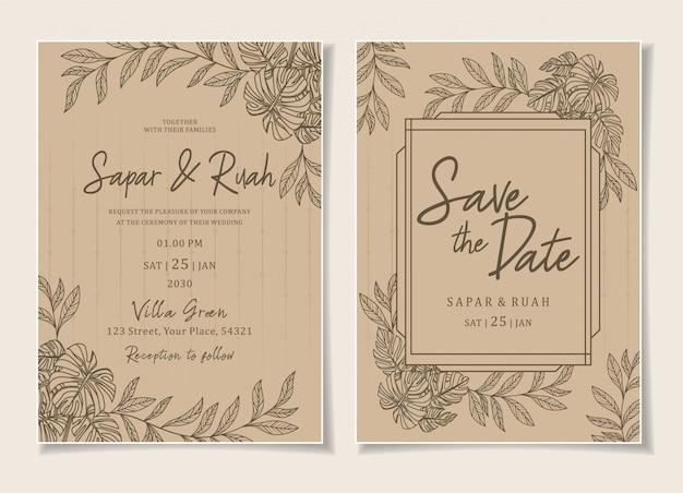 Wedding invitation floral sketch luxury elegant Premium Vector