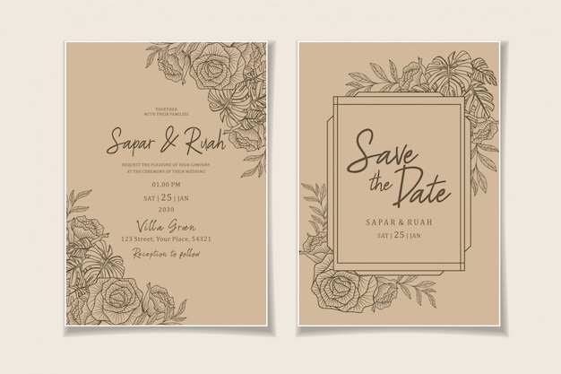 Wedding invitation floral sketch luxury elegant Premium Vector