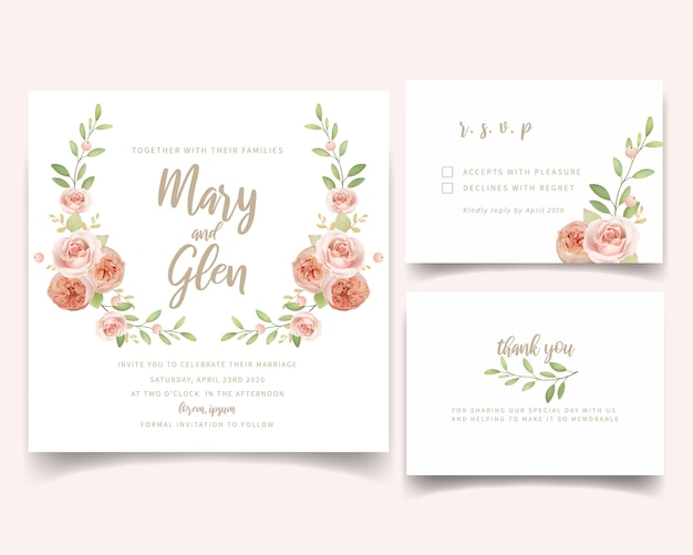 Wedding invitation floral with floral garden roses Premium Vector