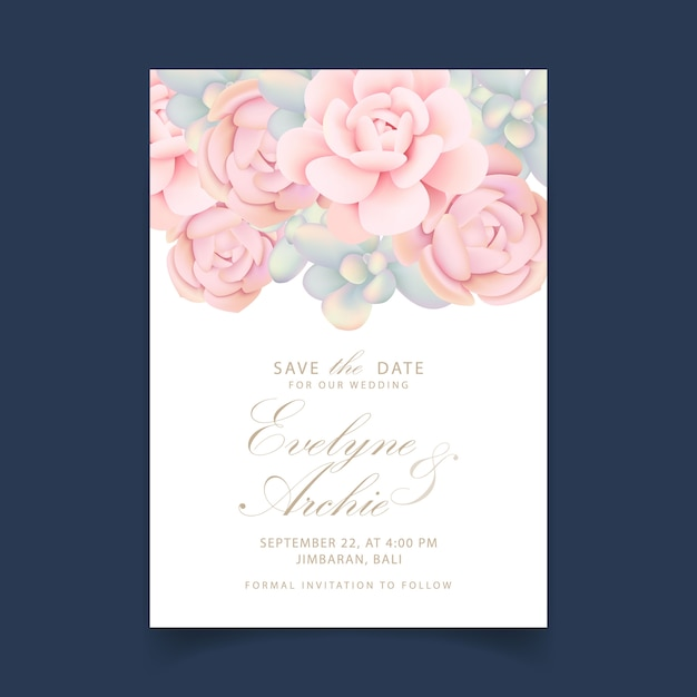 Wedding invitation floral with succulents Premium Vector