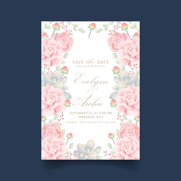 Wedding invitation floral with succulents Premium Vector