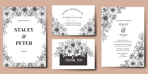 Invito a nozze fiore gerbera disegnato a mano Vettore gratuito