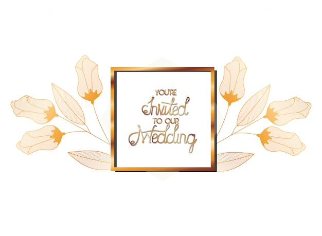 Wedding invitation in frame golden with flowers Premium Vector