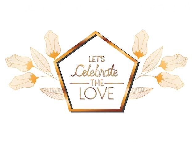 Wedding invitation in frame golden with flowers Premium Vector