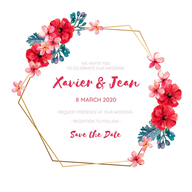 Wedding invitation frame with red watercolor flowers Free Vector