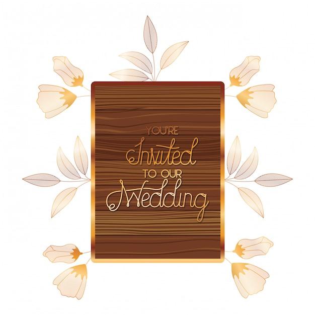 Wedding invitation in frame of wooden Premium Vector