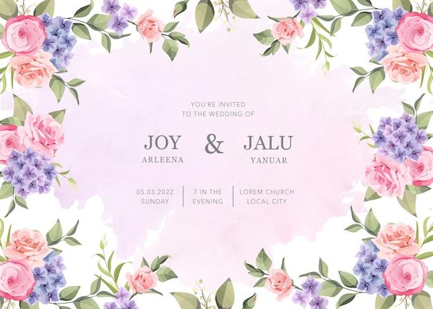 結婚式の招待状の新鮮な花の花 Premiumベクター