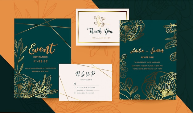 Wedding invitation gold and floral design collection Premium Vector