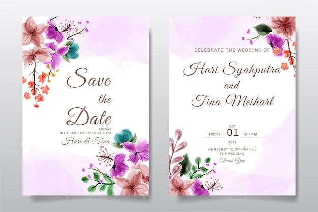 수채화 꽃 결혼식 초대 인사말 카드 프리미엄 벡터