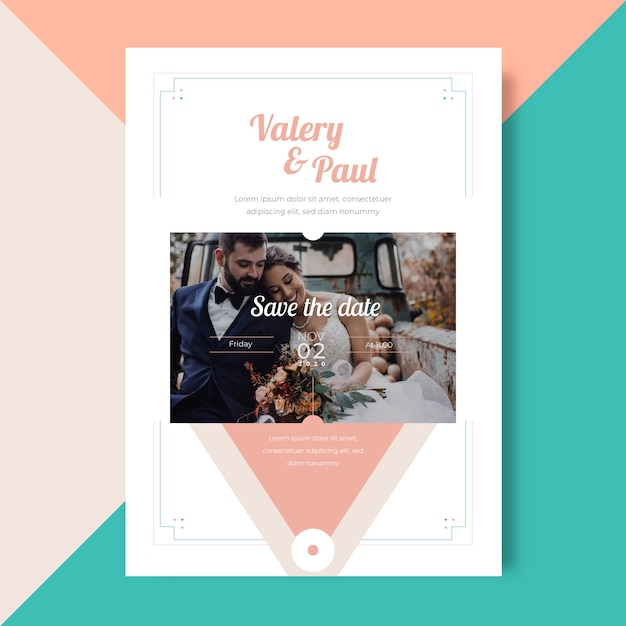 Wedding invitation image template Free Vector