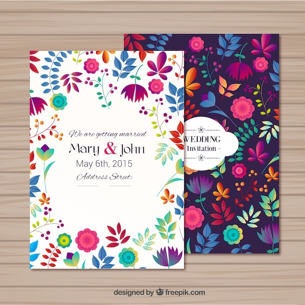 Wedding invitation in floral style Free Vector