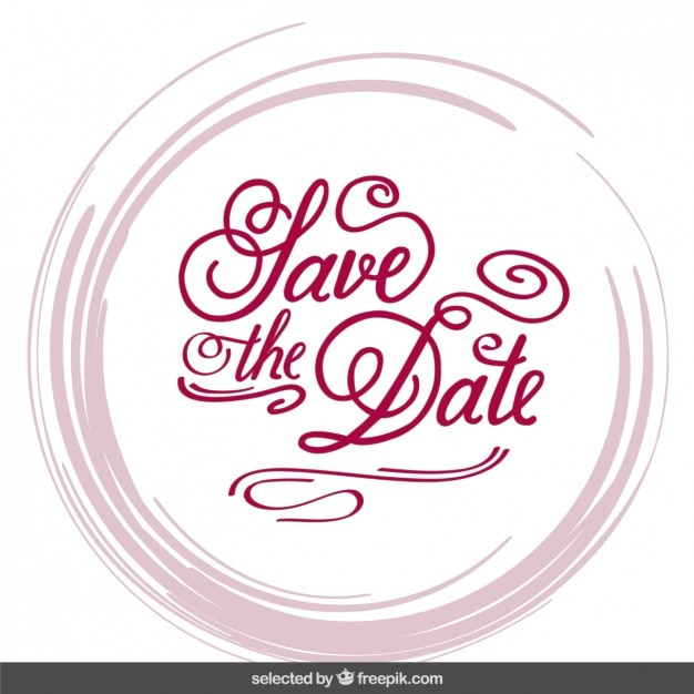 Wedding Invitation In Lettering Style Vector Free Download