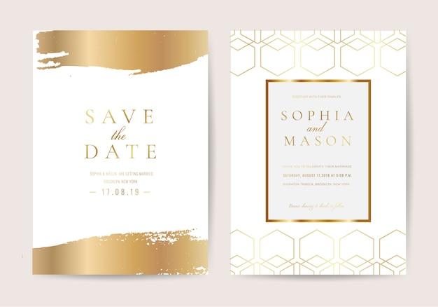 高級スタイルの結婚式招待状 Premiumベクター