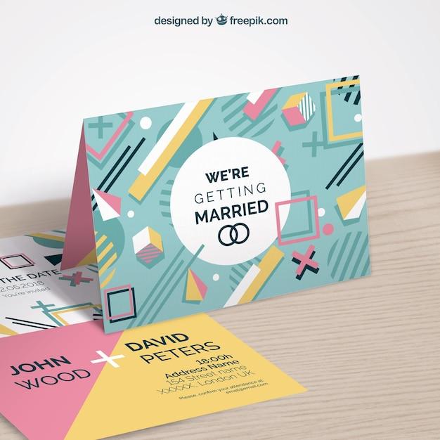 Свадебное приглашение в стиле memphis Бесплатные векторы