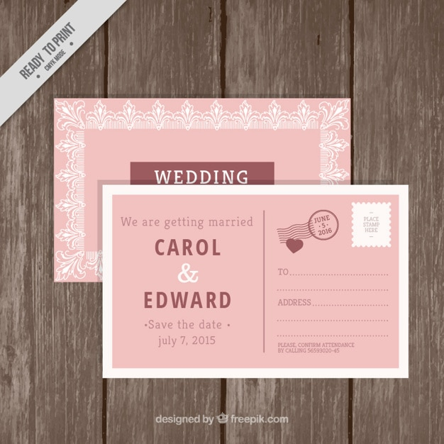 Wedding invitation in postcard style vector free download wedding invitation in postcard style free vector stopboris Image collections