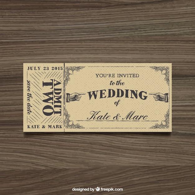 Wedding invitation in ticket style Vector Premium Download