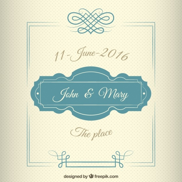 Wedding Invitation In Vintage Style With A Cute Frame Vector Free