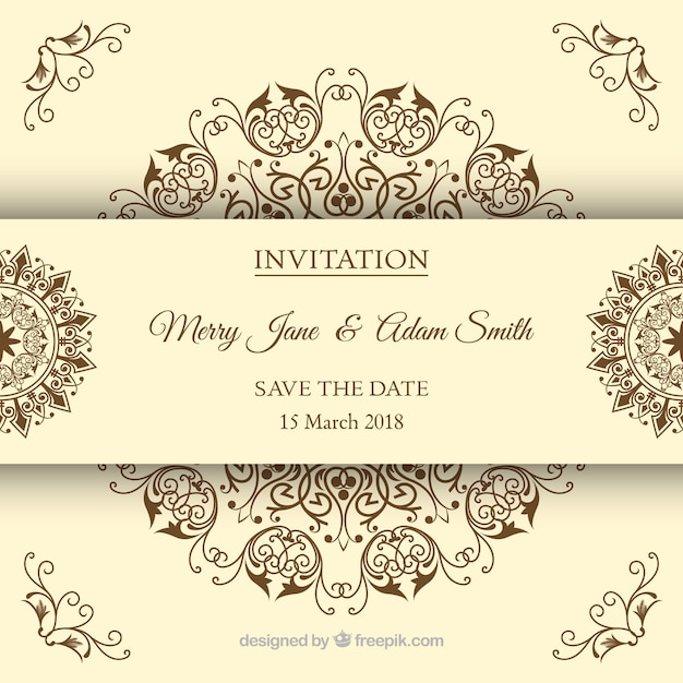 Wedding invitation in vintage style Free Vector
