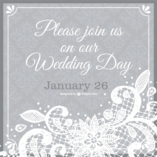 Wedding Invitation Lace Template Vector