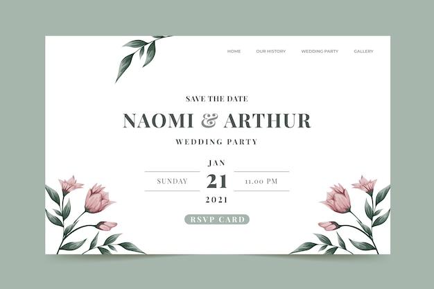 Pagina di destinazione dell'invito a nozze Vettore gratuito
