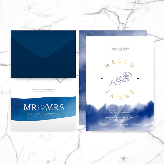 Wedding invitation layout design vector Free Vector