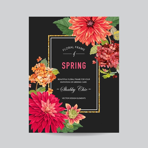 Wedding invitation layout template with flowers Premium Vector