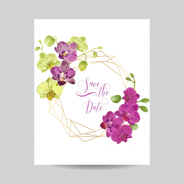 Wedding invitation layout template with orchid flowers. Premium Vector