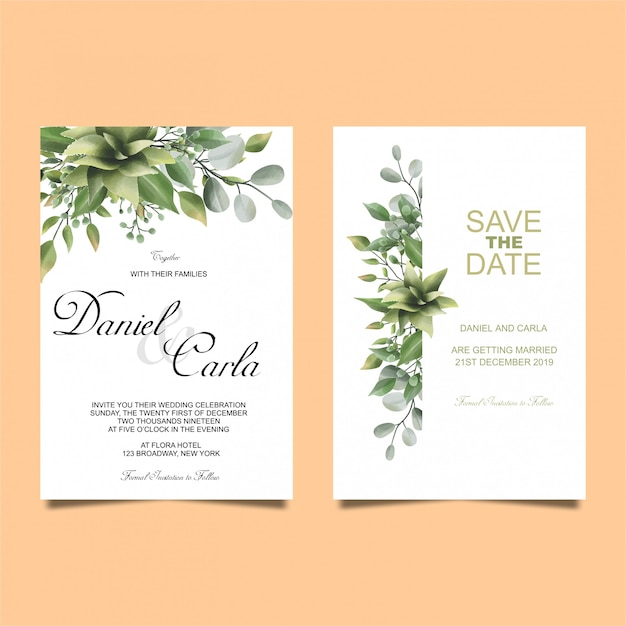 Wedding invitation leaves watercolor style Premium Vector