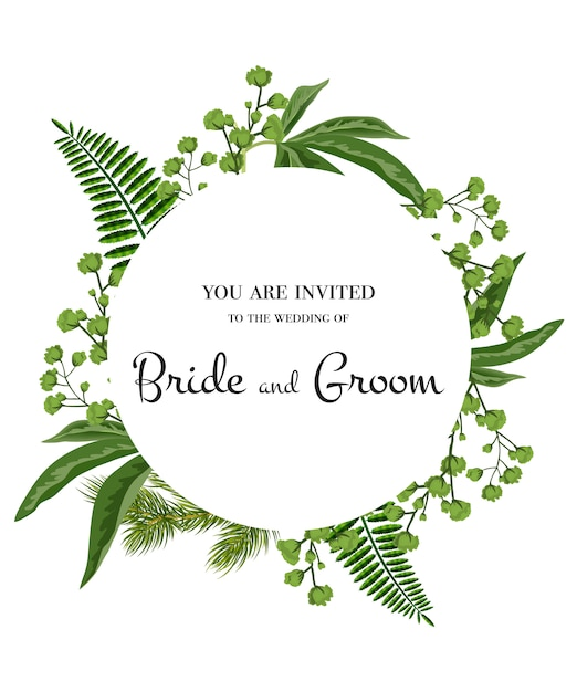 Wedding invitation. lettering in circle with greenery on white background. Free Vector