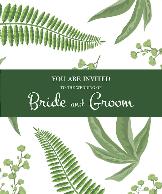 Wedding invitation. lettering in green frame on greenery pattern. party, event, celebration Free Vector