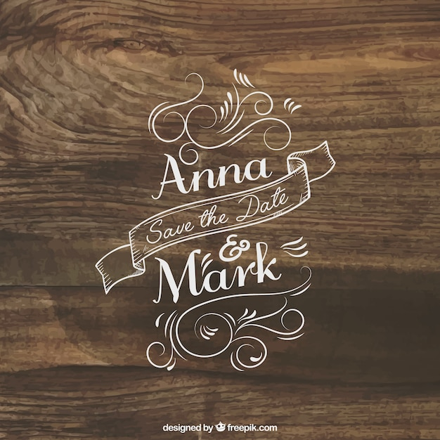 Wedding invitation lettering on wood Free Vector
