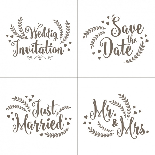 Wedding invitation letterings set vector free download wedding invitation letterings set free vector stopboris Image collections