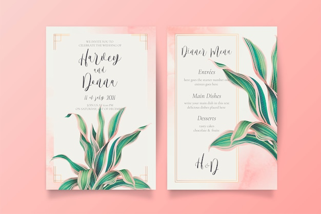 Wedding invitation and menu template with lovely leaves Free Vector