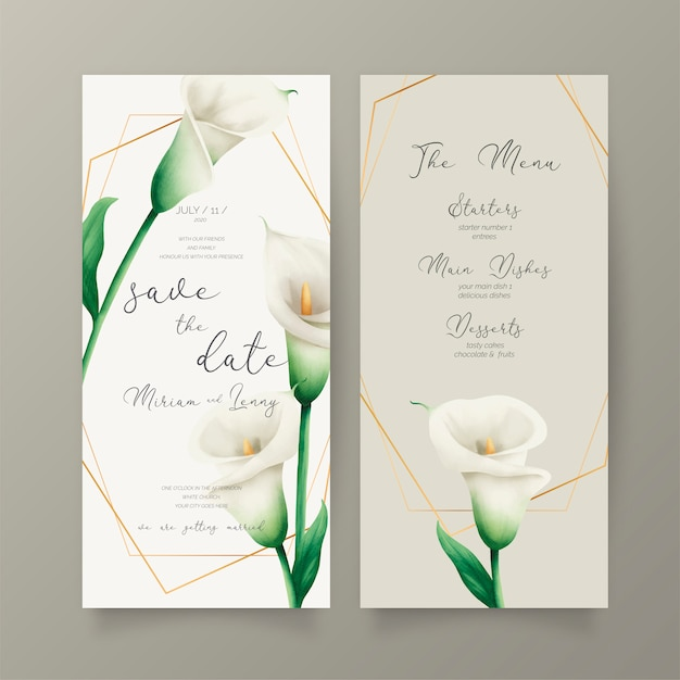 Wedding invitation and menu template with white lilies Free Vector