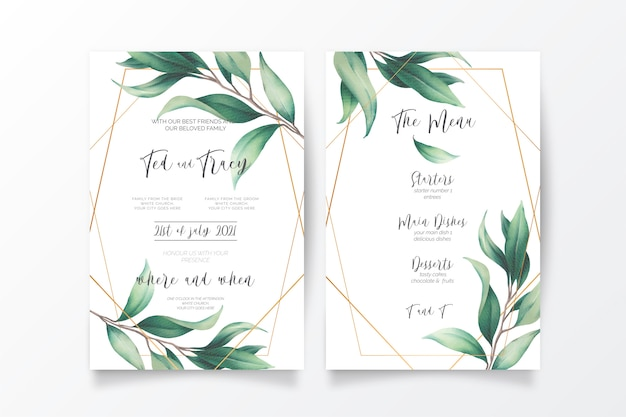 Wedding invitation and menu template with wild leaves Free Vector