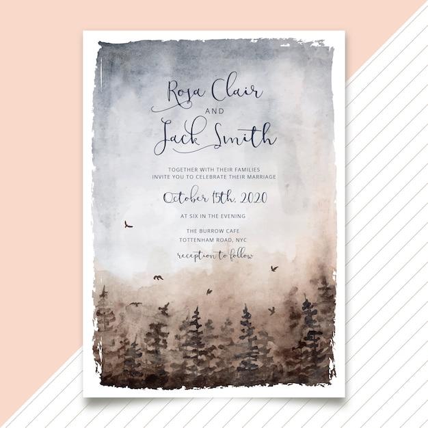Wedding invitation misty forest watercolor Premium Vector