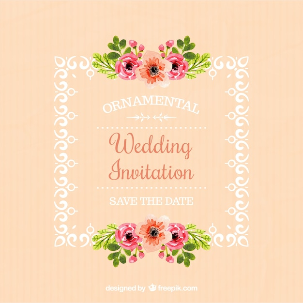 wedding invitation of frame with floral details free vector