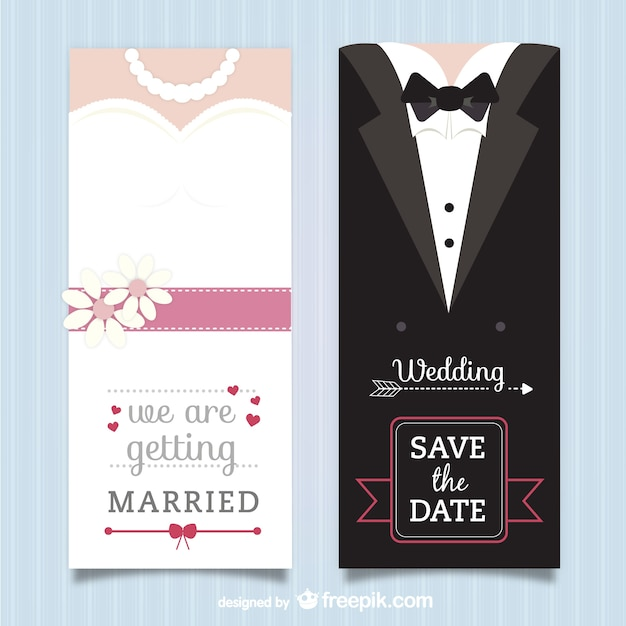 Wedding invitation pack Free Vector