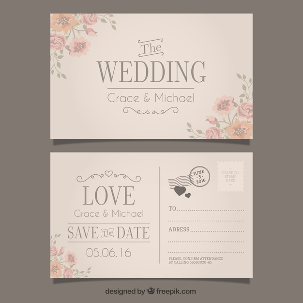 Wedding Invitation Postcard: Wedding Invitation In Postcard Style Vector