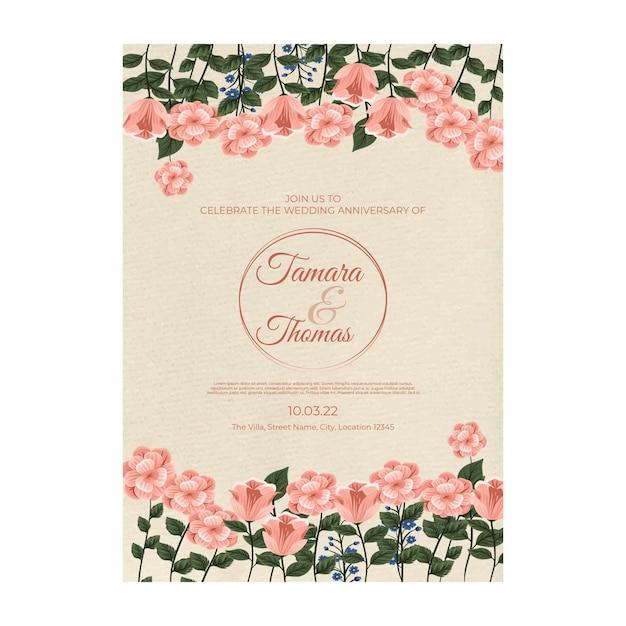 결혼식 초대장 포스터 템플릿 무료 벡터