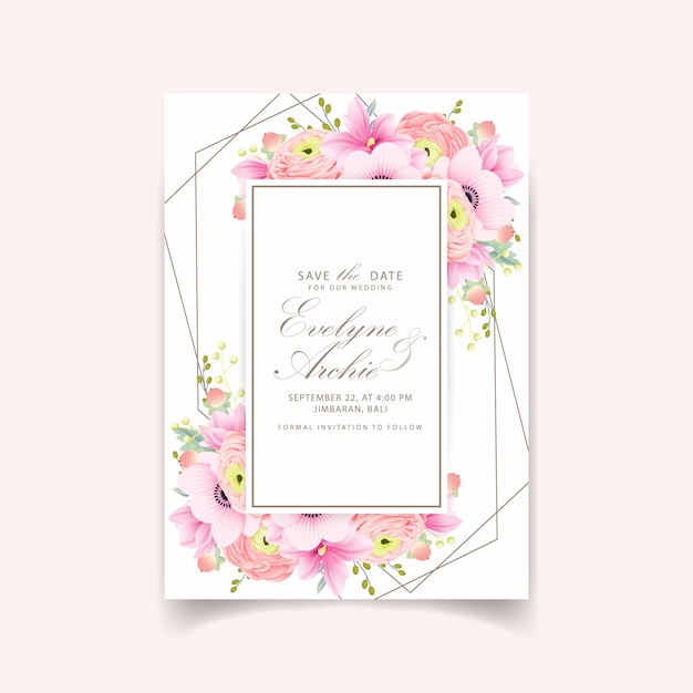 Wedding invitation ranunculus magnolia anemone flowers Premium Vector