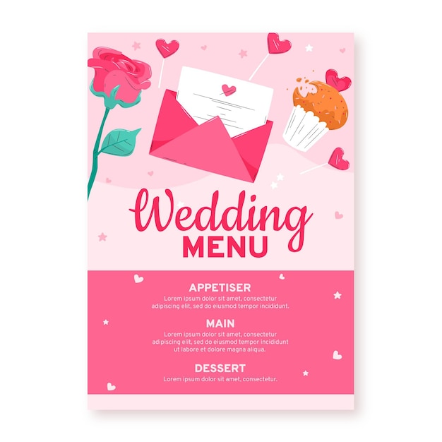 Wedding invitation restaurant menu Free Vector