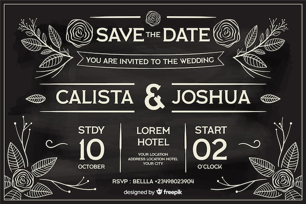 Wedding invitation in retro style written on blackboard Free Vector
