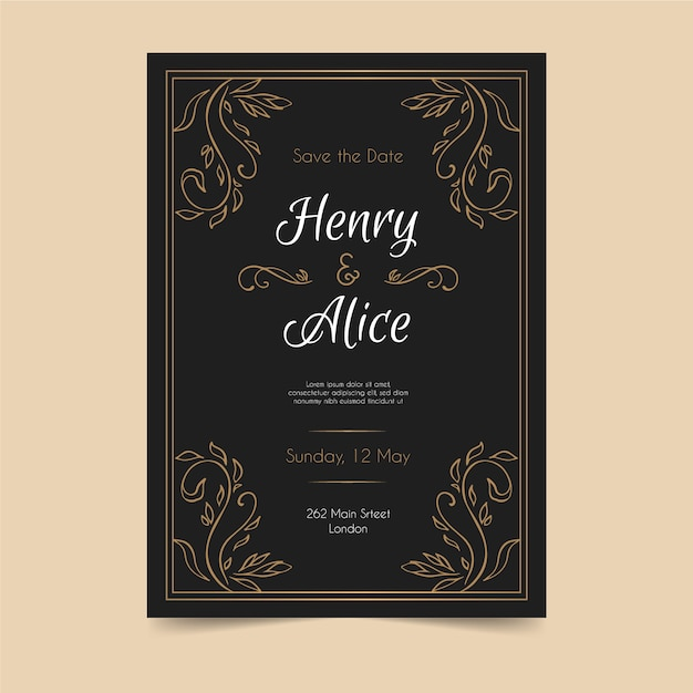 Wedding invitation retro template Free Vector