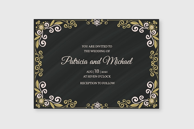 Wedding invitation retro template Free Vector