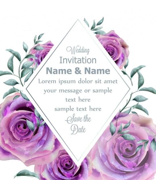 Wedding invitation rose flowers watercolor frame Premium Vector