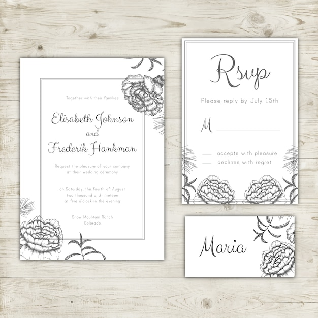 Wedding Invitation Rsvp Card And Place Card Design Vector Free