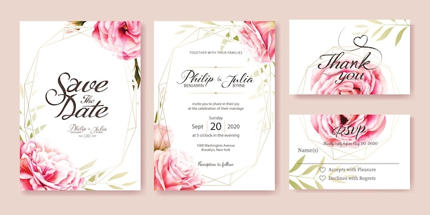 Wedding invitation, rsvp card. watercolor style. vector. Premium Vector