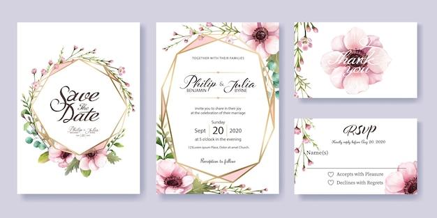 Vector Wedding Invitations: Wedding Invitation, Rsvp Card. Watercolor Style. Vector