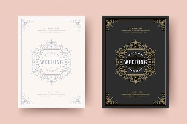 Wedding invitation save the date card golden flourishes ornaments vignette swirls. vintage victorian frame and decorations. Premium Vector